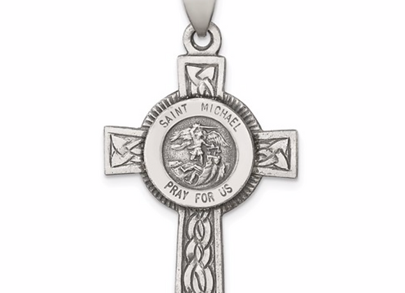 Sterling Silver St. Michael on Cross Pendant