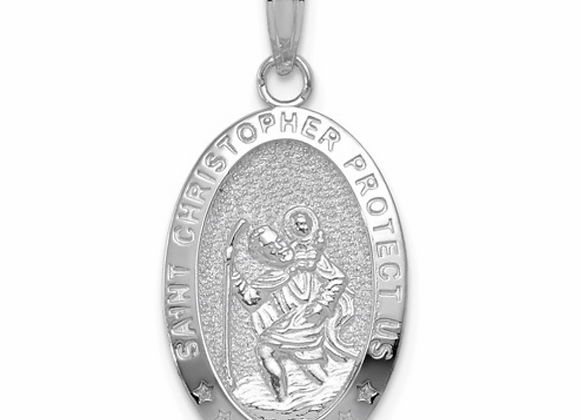 14K White Gold Polished Saint Christopher Oval Medal Pendant