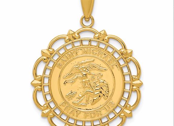 14K Gold Polished And Satin Saint Michael Medal Pendant
