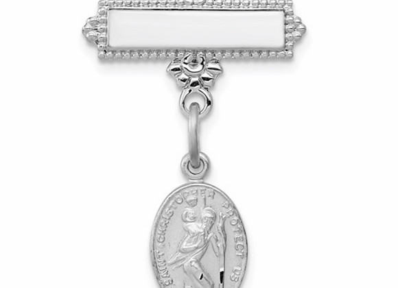 Sterling Silver Saint Christopher Medal Pin