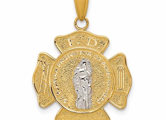 14k Two-Tone Saint Florian Medal Pendant