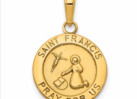 14K Gold Satin And Polished Finish Saint Francis Medal Pendant