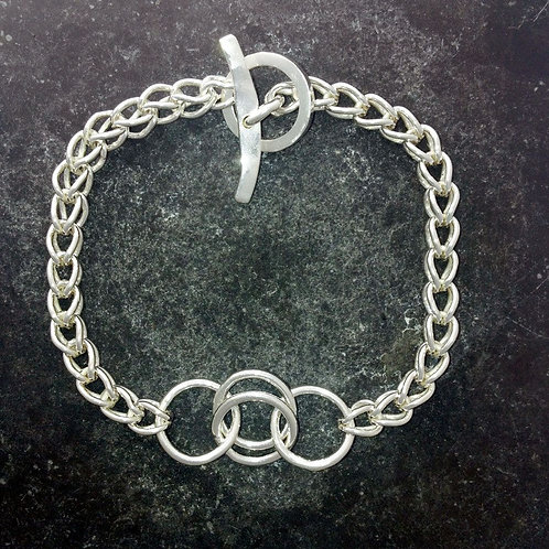 "Ancient Origin, Fine silver ""loop in loop"" bracelet"