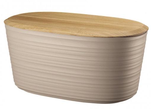 Хлебница с бамбуковой крышкой Tierra 10 л бежево-розовая