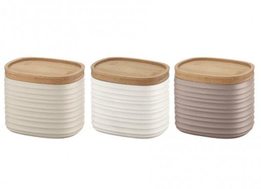 Набор из 3 емкостей для хранения с бамбуковыми крышками Tierra 500 мл разноцветн