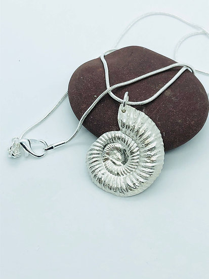 Pure Silver (999) Ammonite Necklace With 925 Sterling Silver Chain
