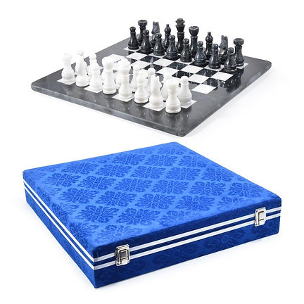 "15"" Marble Chess Set With Presentation Case"