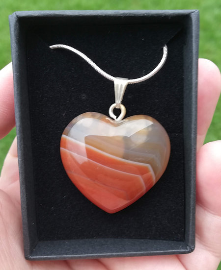 "Carnelian Heart Pendant with 18""Chain"