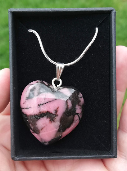"""Rhodonite Heart Pendant with 18""""Chain"""