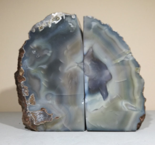 Natural Grey/Green Agate Bookend 2.6KG