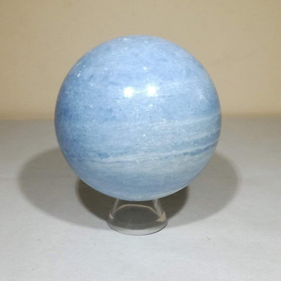 80mm Blue Calcite Sphere With Stand -817g