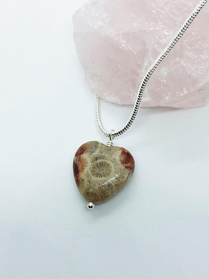 Fossil Coral Heart Necklace With 925 Sterling Silver Chain