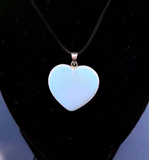 "Opalite Heart Pendant with 18"" Nylon Chain"