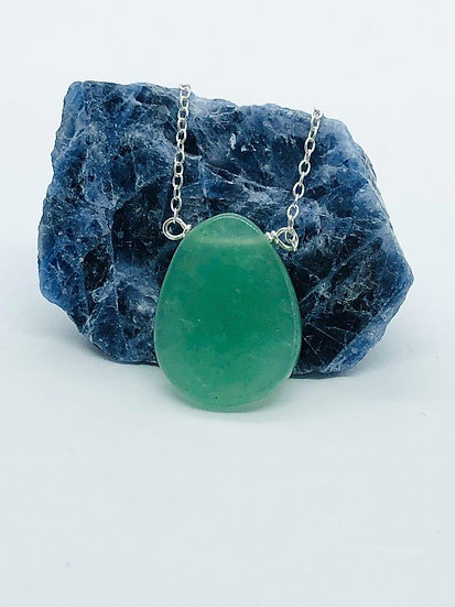 Aventurine Necklace With 925 Sterling Silver Chain
