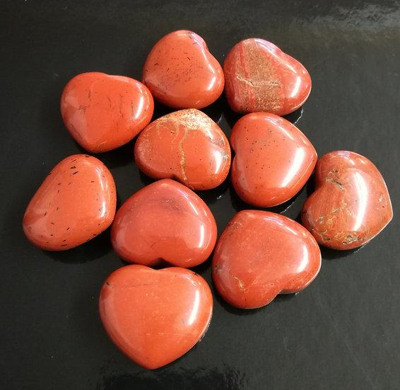 30mm Red Jasper Hearts x5