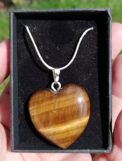 "Tigers Eye Heart Pendant with 18""Chain"