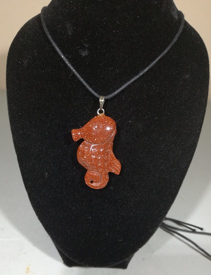 Goldstone Seahorse Pendant with Nylon Chain