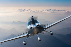 Privat light airplane or aircraft fly on