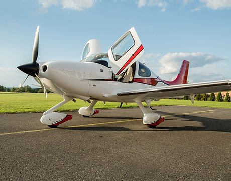Single turboprop aircraft on the ground