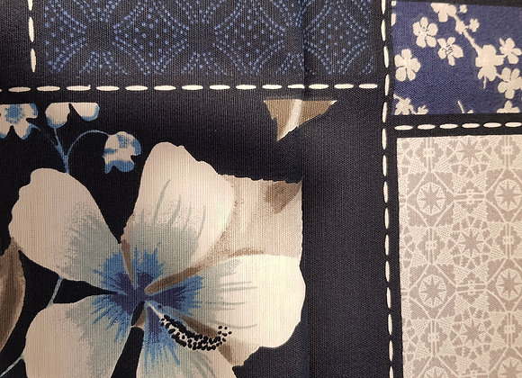 Navy butterflies and flowers