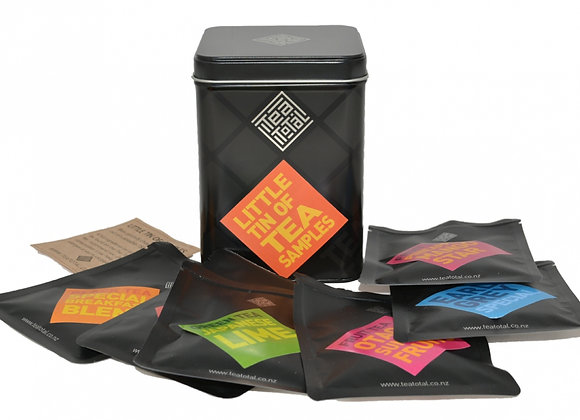 6 x tea sample packs in a Tea Total tin