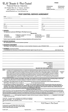 RM Pest Control Service Agreement Form R