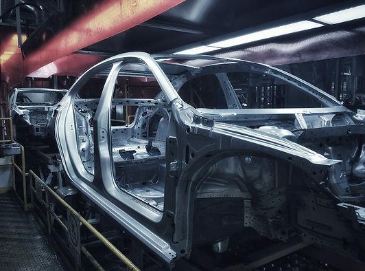 Car frame structure on automobile manufa