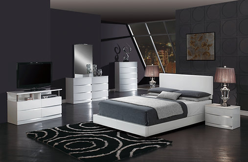 Aurora White Glossy Bedroom Set by Global Furniture