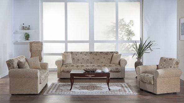Elita S Yasemin Beige Sofa, Love & Chair Set by Sunset (ISTIKBAL)
