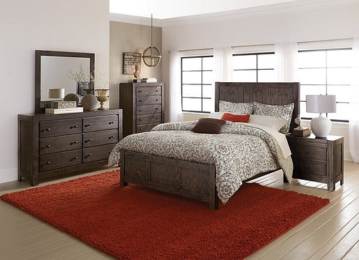 Farrin Rustic Pine Wood Queen Size Bedroom Set