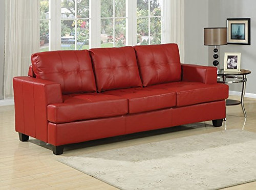 ACME Furniture Diamond Red Bonded Leather Sofa w/Queen Sleeper Set