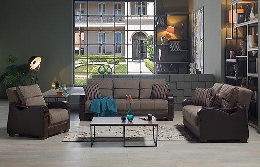 Bennett Redeyef Brown Sofa, Love & Chair (ISTIKBAL)