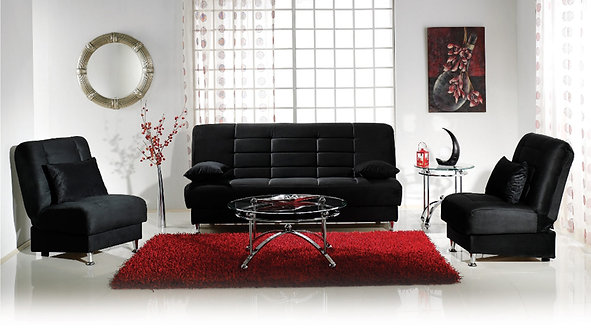 Vegas Rainbow Black Sofa & 2 Chairs Set by Sunset ( ISTIKBAL )