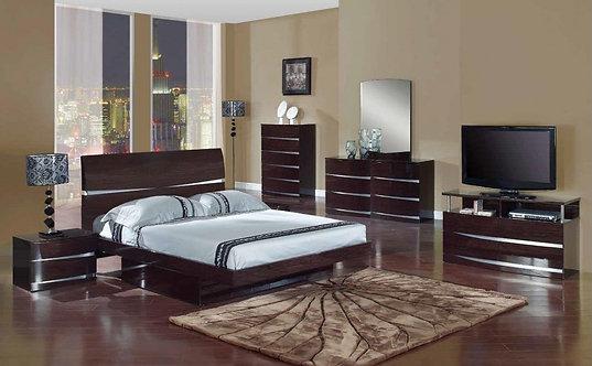 Aurora Wenge Glossy Bedroom Set by Global Furniture
