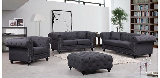 CHESTERFIELD GREY LINEN SOFA SET 3PC BY MERIDIAN FURNITURE