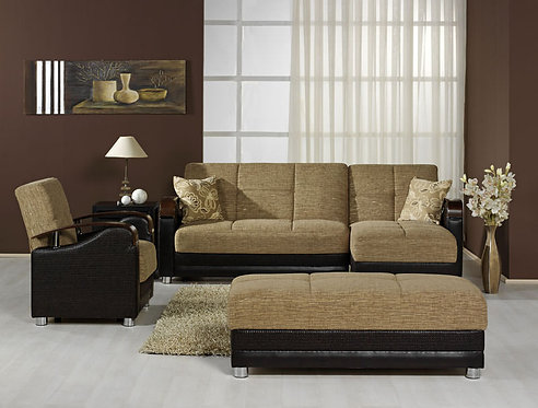 Luna Fulya Brown Sectional, Chair & Ottoman Set by Sunset