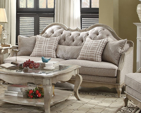Chelmsford Sofa w/5 Pillows, Beige Fabric & Antique Taupe
