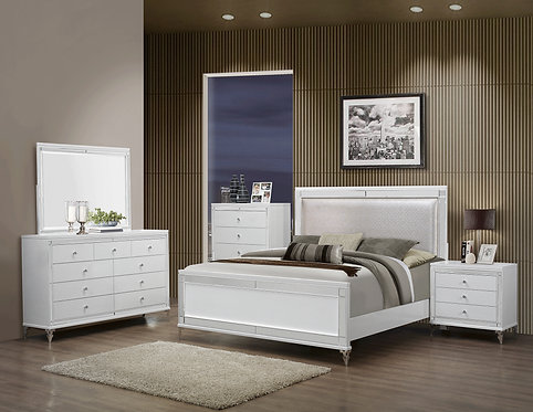 Catalina Metallic White Bedroom Set by GlobalFurniture