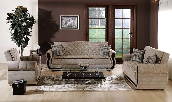 Argos Zilkade Light Brown Sofa, Love & Chair Set (ISTIKBAL)