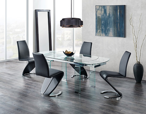 D2160DT Dining Table with Black Chairs by Global