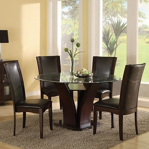 Daisy Round Glass Top Dinette with Brown Chairs by Homelegance