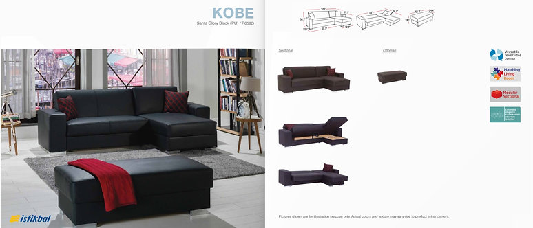 KOBE SANTA GLORY BLACK (PU) SECTIONAL SOFA