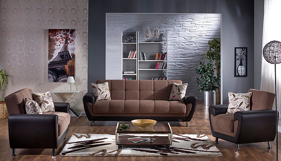 Duru Optimum Brown Sofa, Love & Chair Set (ISTIKBAL)
