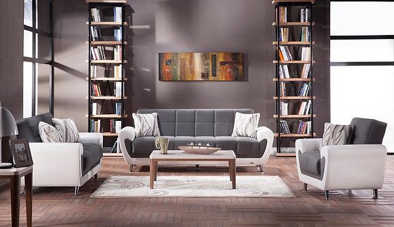 Duru Plato Dark Gray Convertible Sofa, Love & Chair by Sunset (ISTIKBAL)