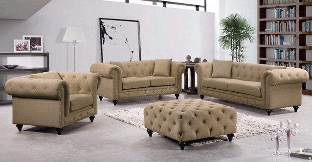 CHESTERFIELD SAND LINEN SOFA SET 3PC BY MERIDIAN FURNITURE