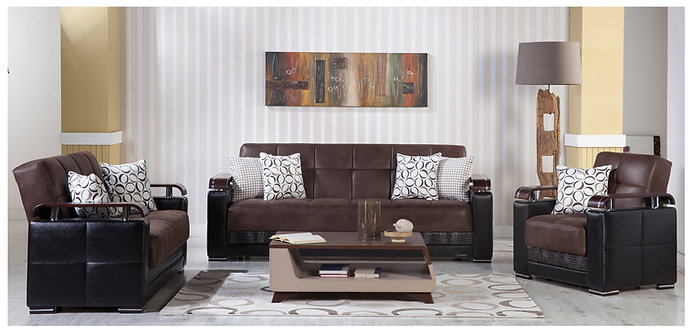 Ekol Chocolate Sofa, Love & Chair Set (ISTIKBAL)