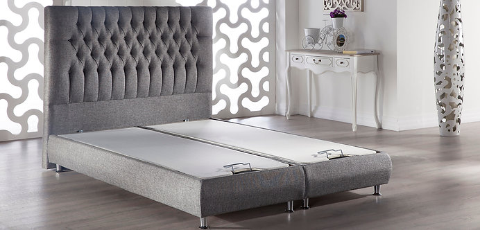 Prince Platform Bed w/Headboard Diego Gray by Sunset (ISTIKBAL)