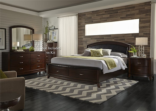 Avalon Dark Truffle Storage Panel Bedroom Set