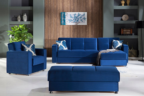 ELEGANT ROMA NAVY SECTIONAL SOFA