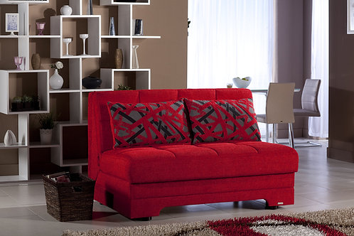 Twist Story Red Loveseat Sleeper by Sunset (ISTIKBAL)